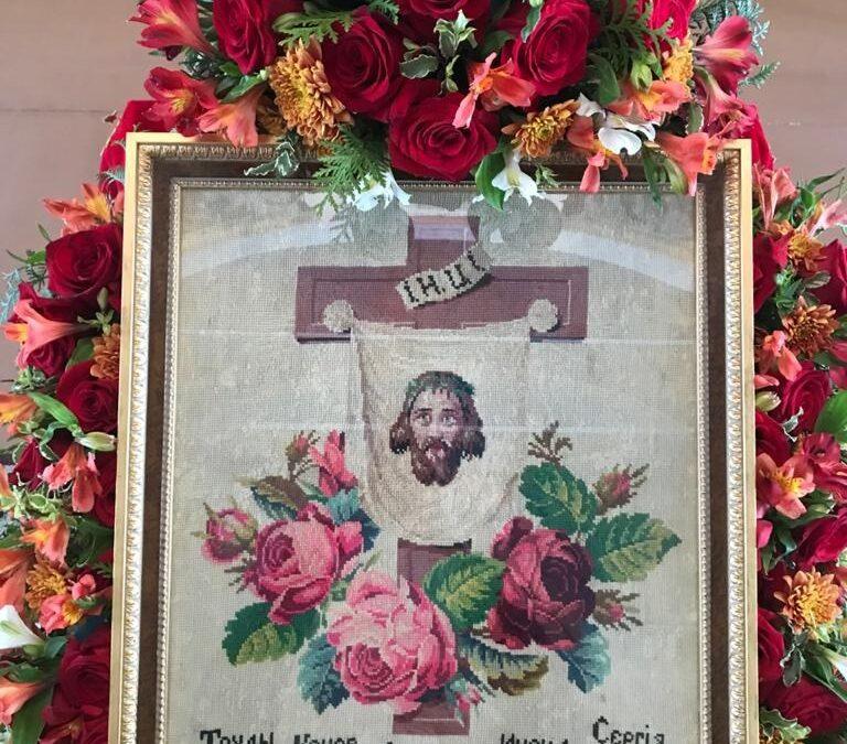 В Пасху Христову, 2 мая, в монастырь вернулась икона, вытканная насельником обители