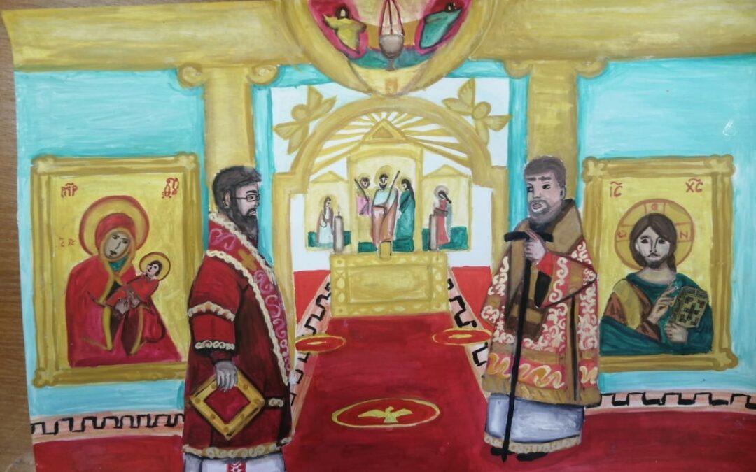 «Праздничная Литургия в Коневском монастыре». Автор: Маша Строгонова 12 лет г. Кингисепп.